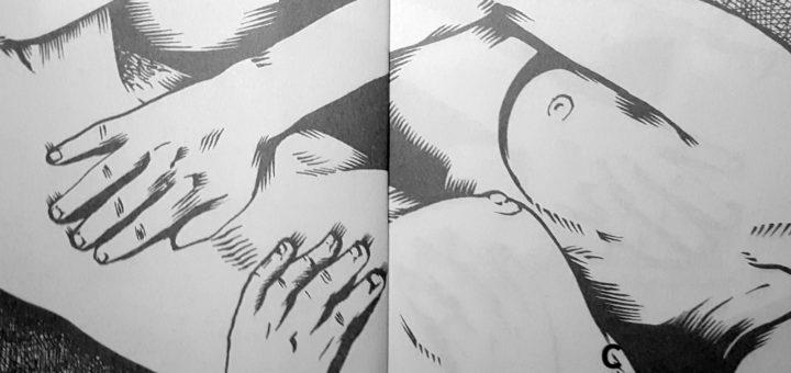 Détail de l'illustration de premières pages, par Maïc Batmane. Dorothy Allison, Peau. À propos de sexe, de classe et de littérature, éditions Cambourakis, Paris, [1994] 2015.